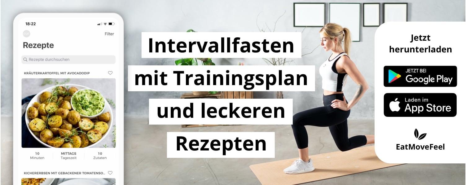 Intervallfasten, HIIT-Workouts und leckere Rezepte - EatMoveFeel App Banner
