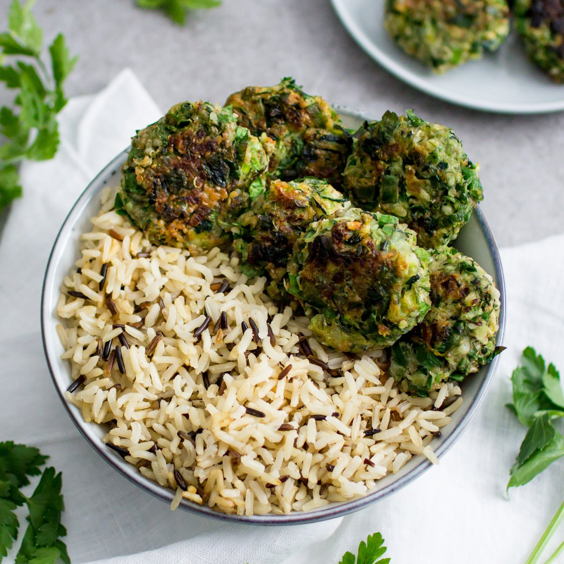Zucchini Frikadellen mit Reis