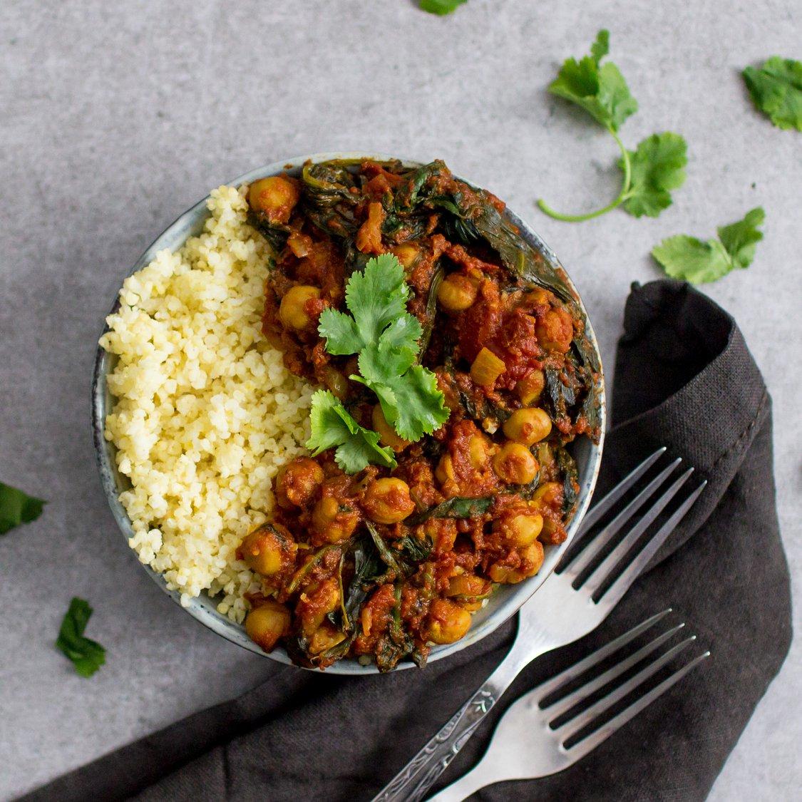 Kichererbsen Curry mit Spinat