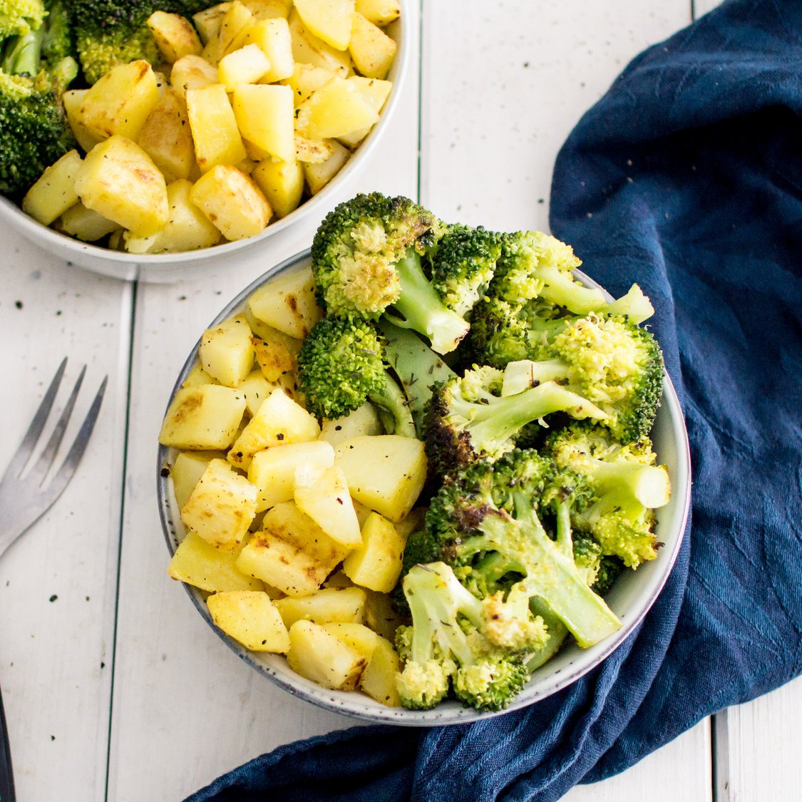 Bratkartoffelwürfel mit Brokkoli