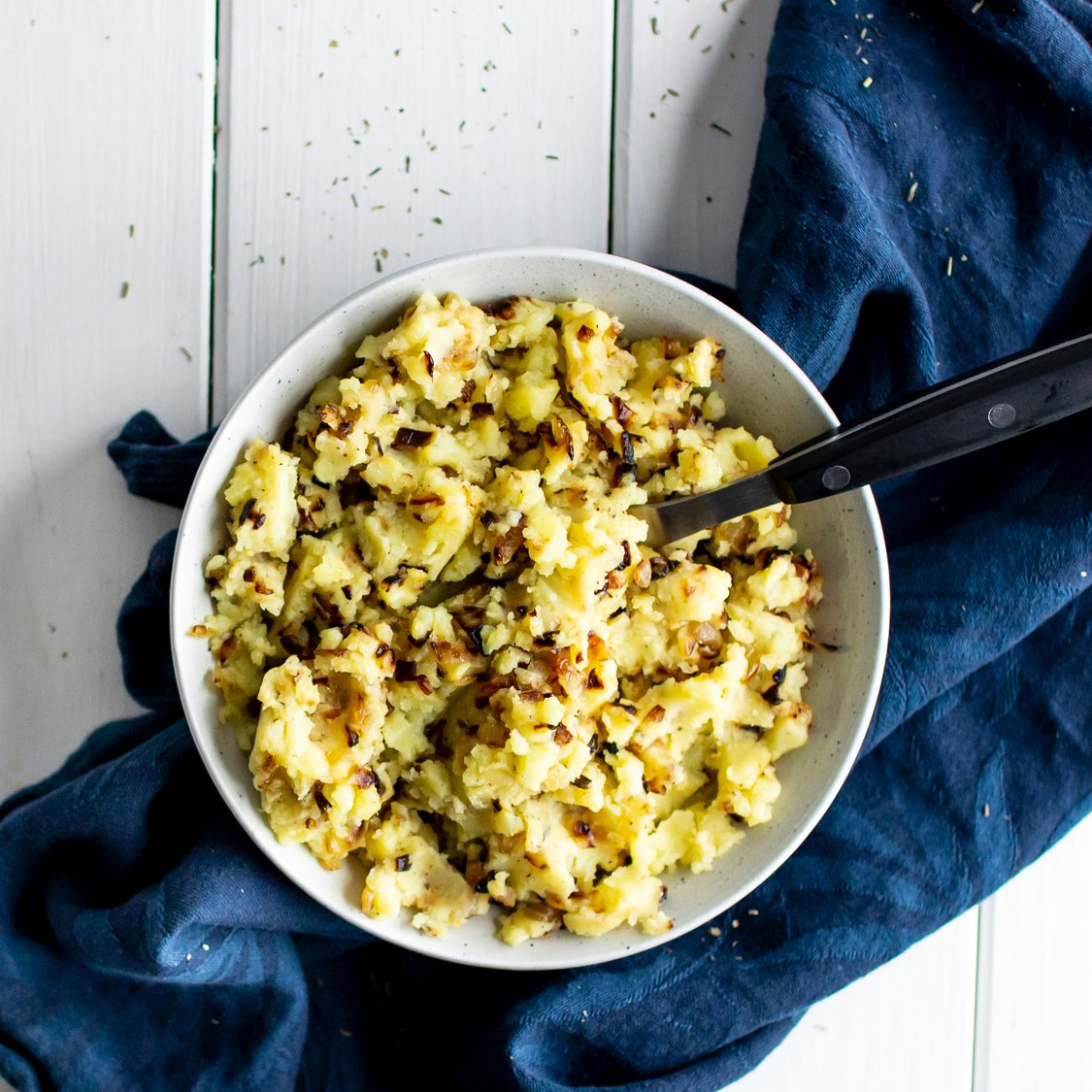 Stampfkartoffeln mit Zwiebeln